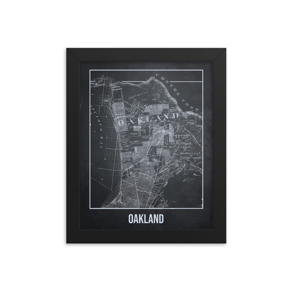 Framed Oakland Antique Paper Map Gray