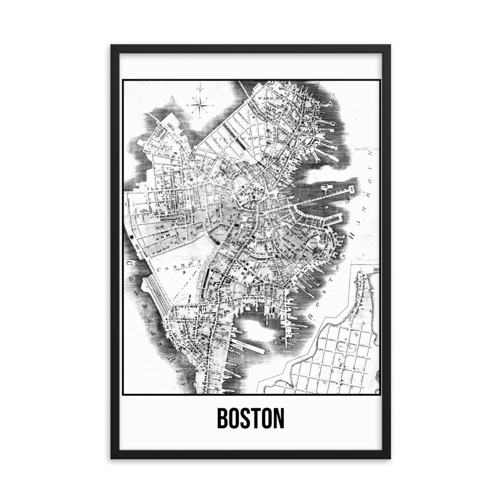 Framed Boston Antique Paper Map White