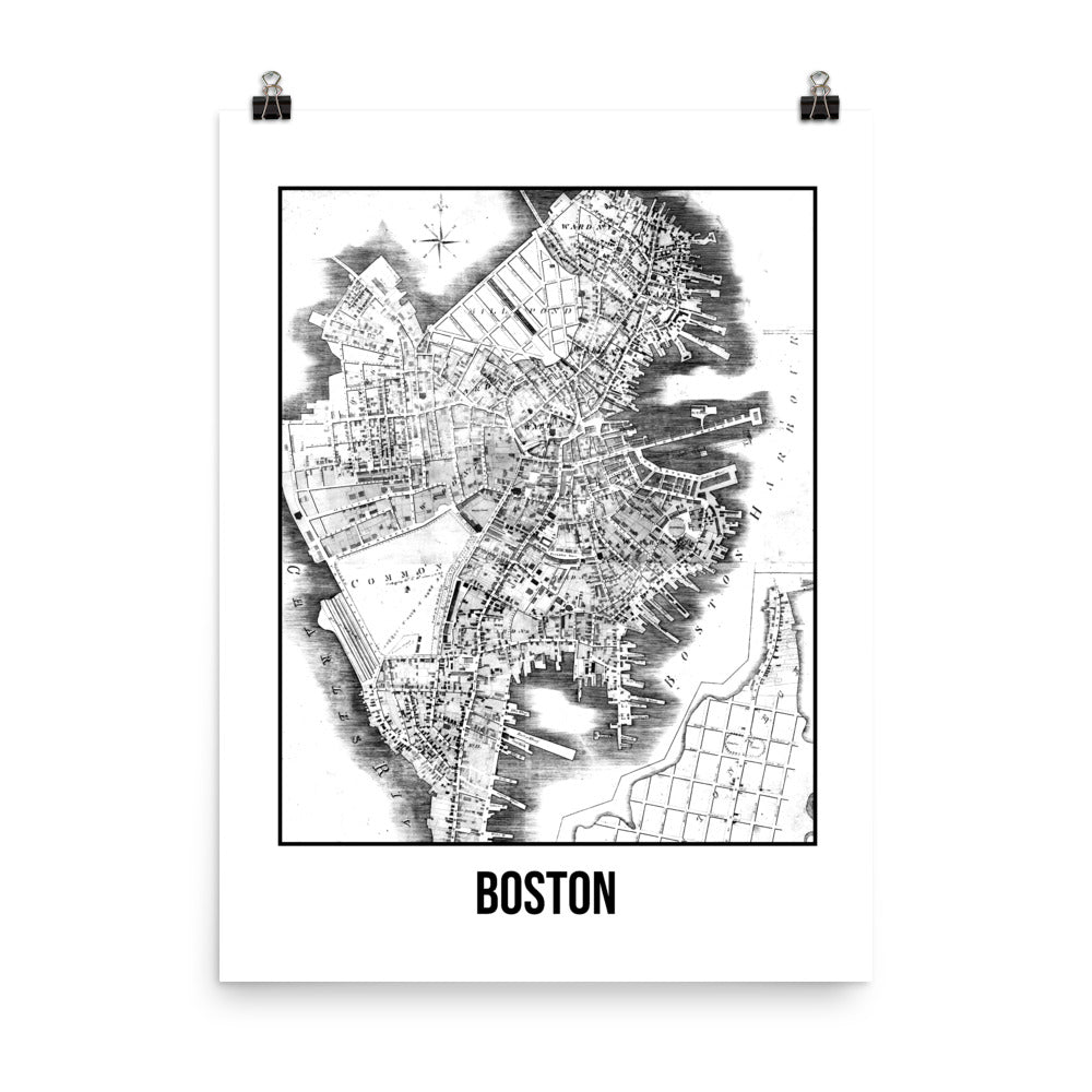 Boston Antique Paper Map White