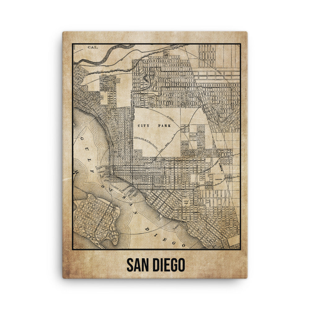 San Diego Antique Canvas Print Map