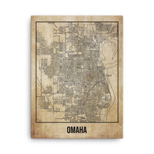 Omaha City Antique Canvas Print Map