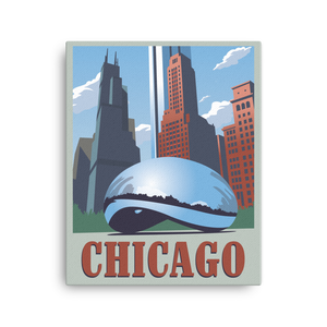Chicago | Cloud Gate | Vintage-Style Travel Poster | Canvas Print