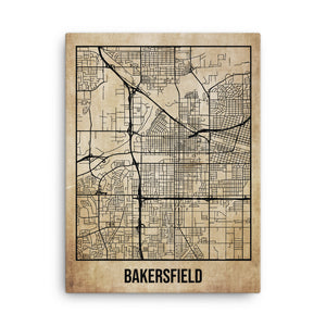 Bakersfield Antique Canvas Print Map