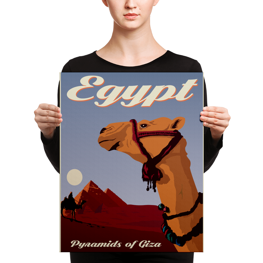 Egypt | Pyramids of Giza | Vintage-Style Travel Poster | Canvas Print