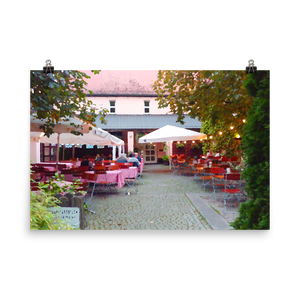 Cafe in Munich | Oil Painted Wall Art Print on Photo Paper