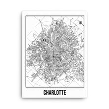 Charlotte Antique Canvas Print Map White
