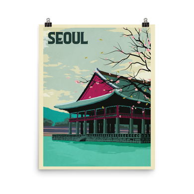 Seoul Korea Vintage Travel Poster