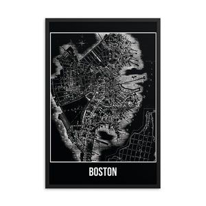 Framed Boston Antique Paper Map Black