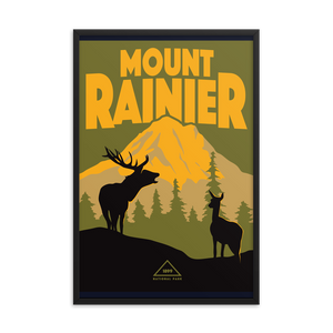 Mount Rainier Washington | Vintage-Style Travel Poster | Framed Print