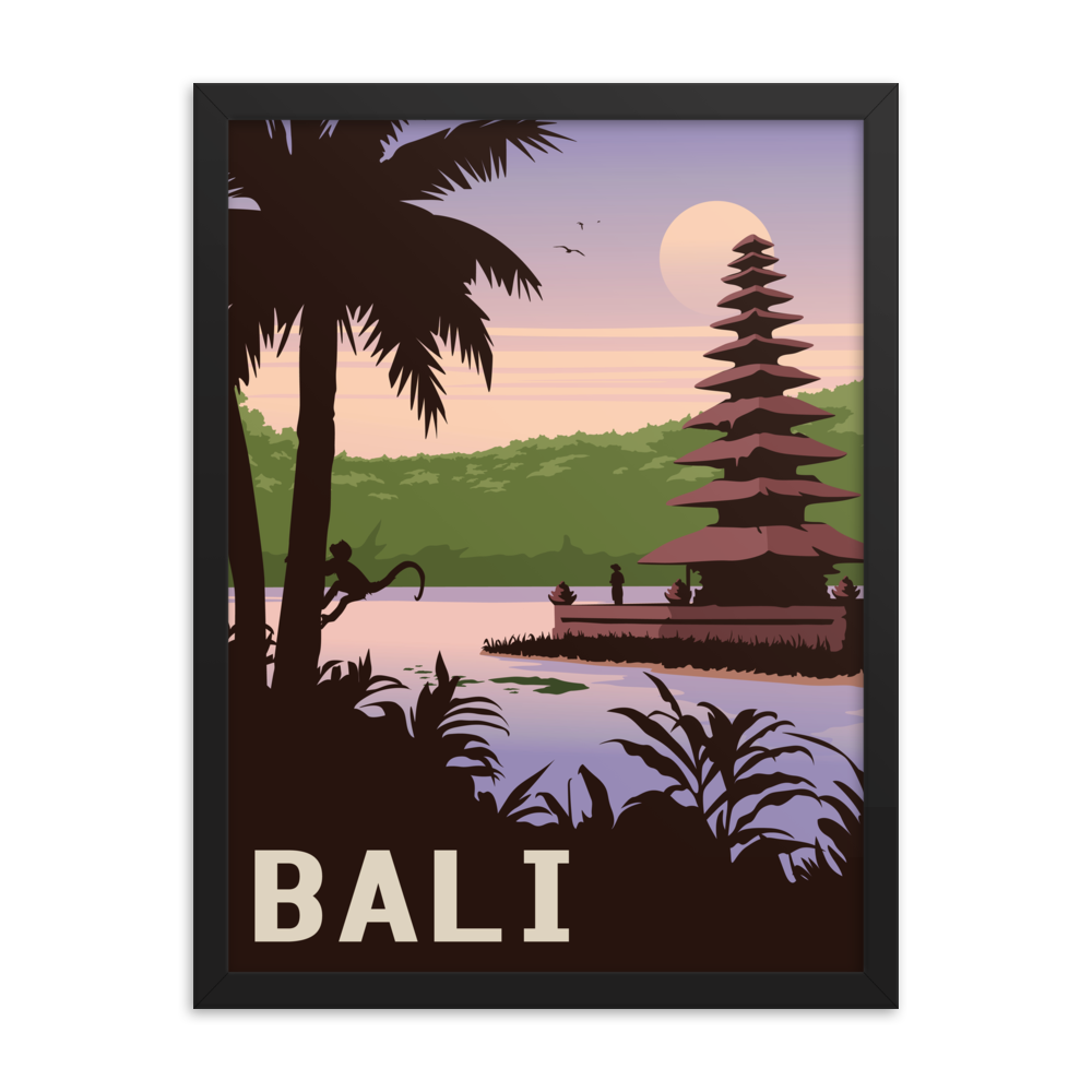 Bali Indonesia | Vintage-Style Travel Poster | Framed Print (Dawn)