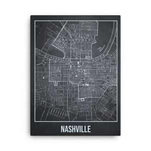 Nashville Antique Canvas Print Map Gray