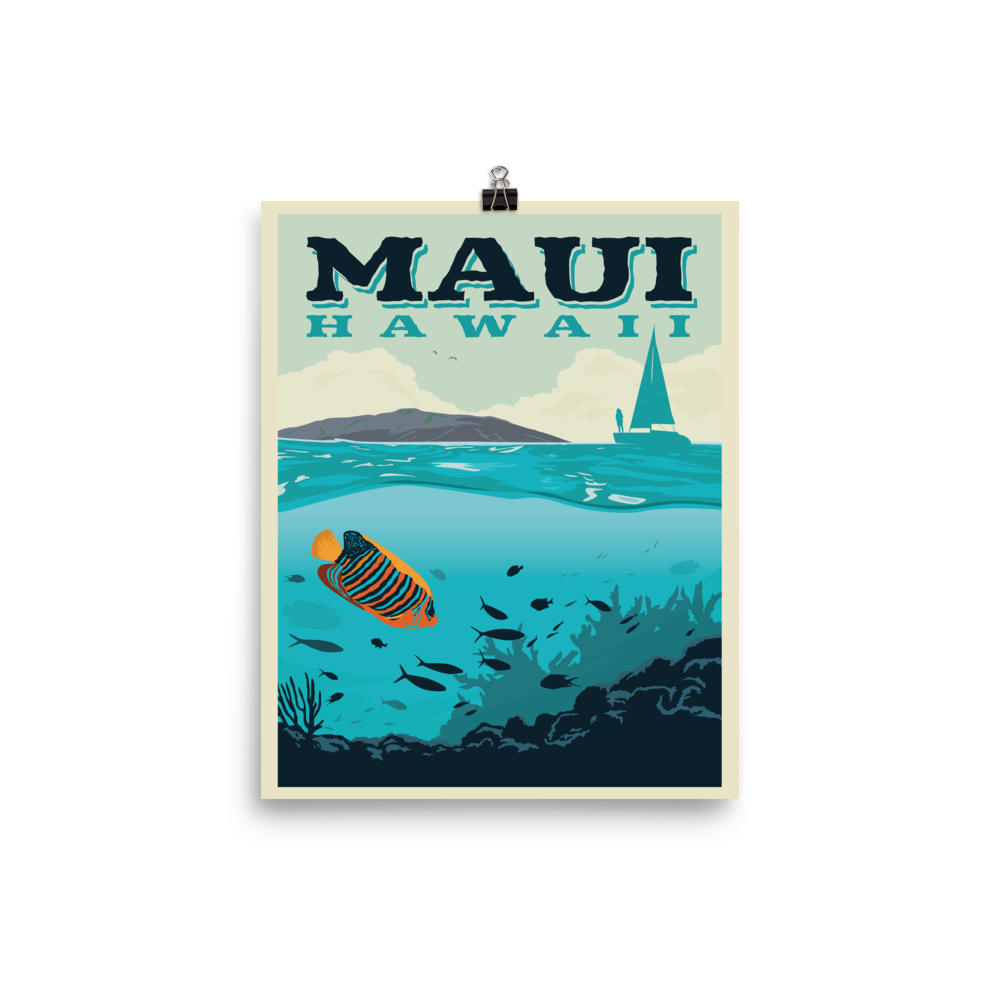 Maui Hawaii | Vintage-Style Travel Poster | Premium Photo Paper Print