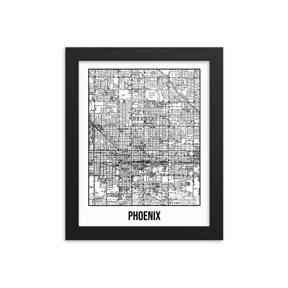 Framed Phoenix Antique Paper Map White