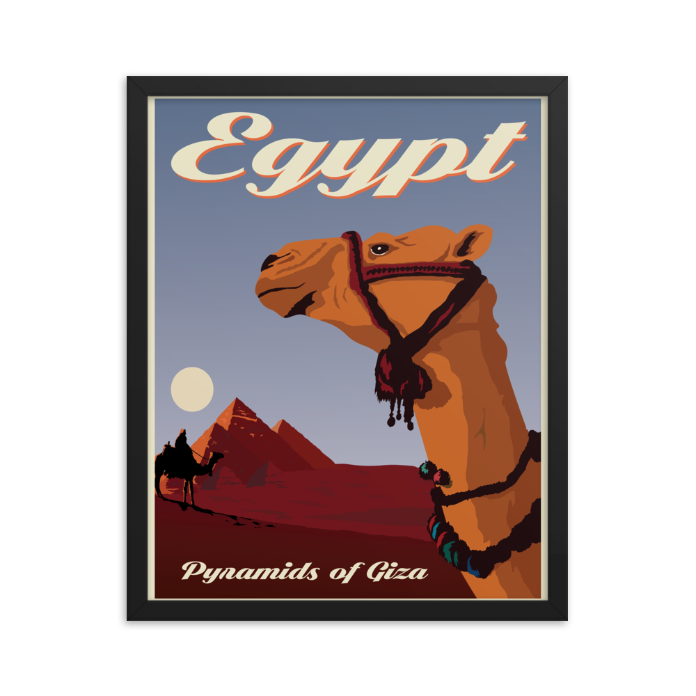 Egypt | Pyramids of Giza | Vintage-Style Travel Poster | Framed Poster
