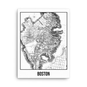Boston Antique Canvas Print Map White