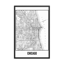 Framed Chicago Antique Paper Map White