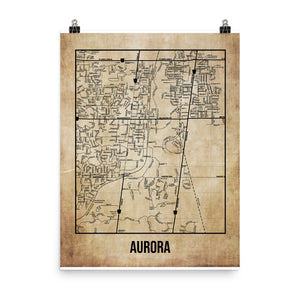 Aurora Antique Paper Map