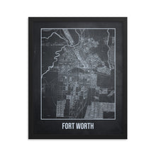 Framed Forth Worth Antique Paper Map Gray