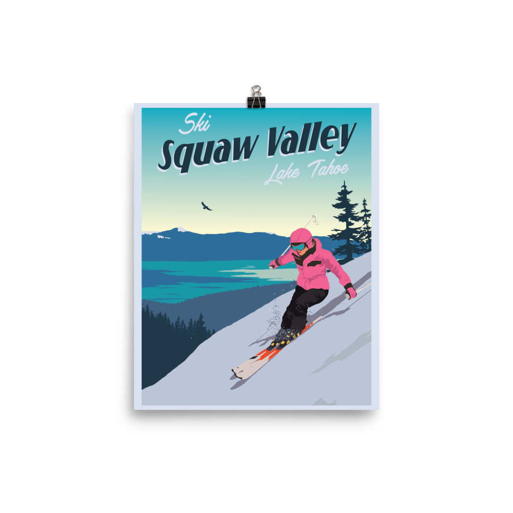 Ski Squaw Valley Lake Tahoe Vintage Travel Poster
