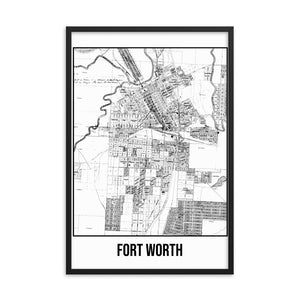 Framed Forth Worth Antique Paper Map White
