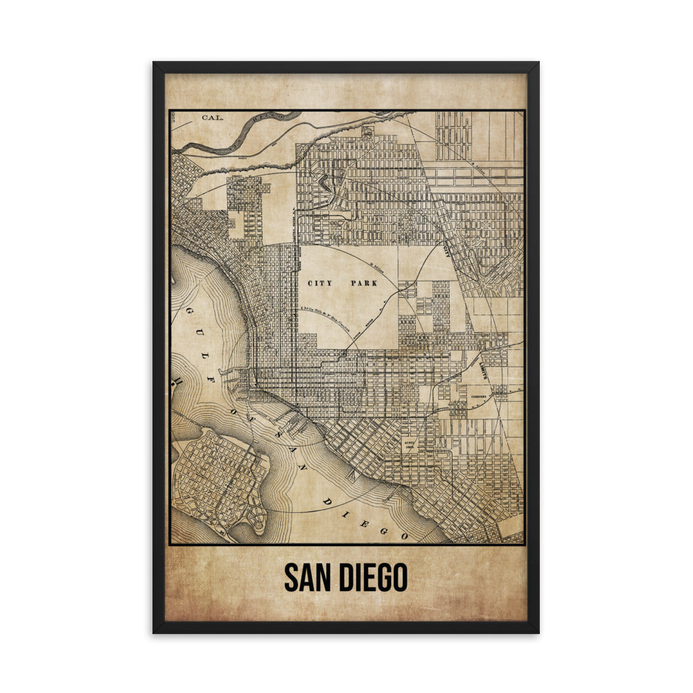Framed San Diego Antique Paper Map
