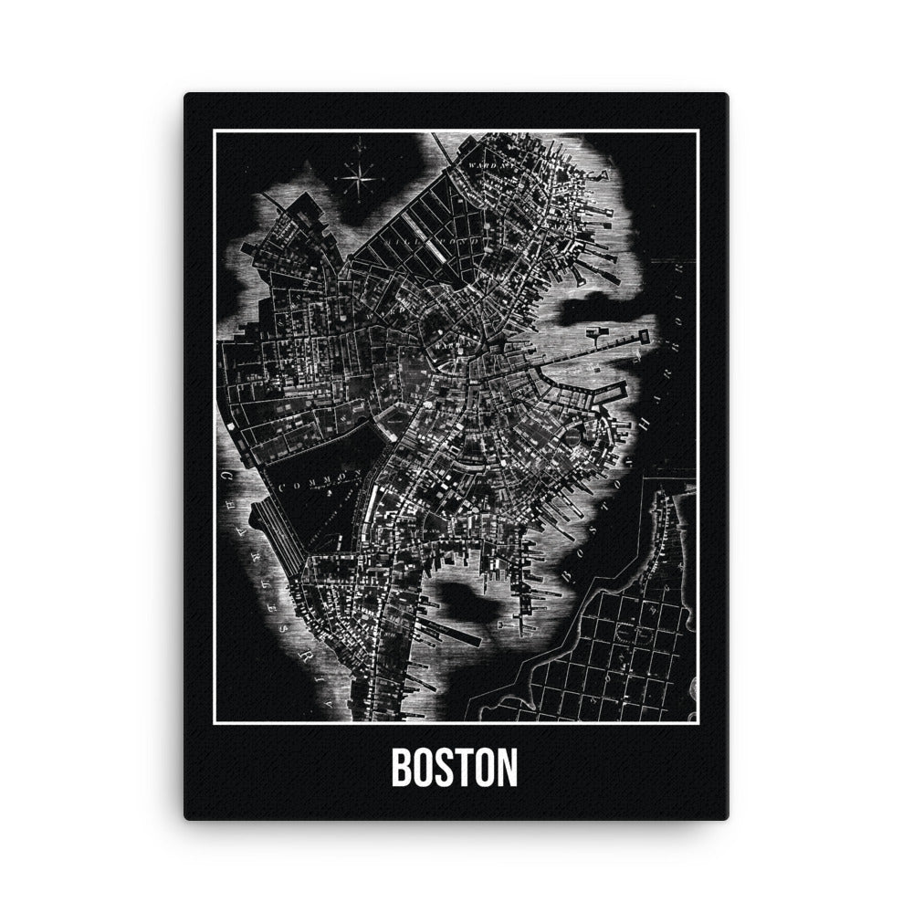 Boston Antique Canvas Print Map Black