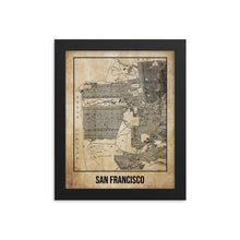 Framed San Francisco Antique Paper Map