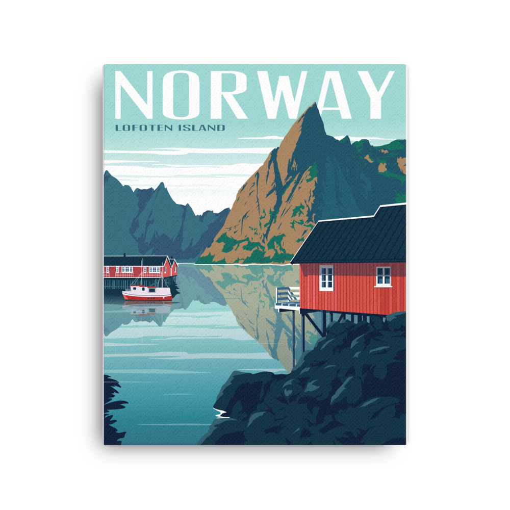 Lofoten Islands Norway | Vintage-Style Travel Poster | Canvas Print