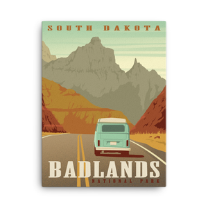 Badlands National Park | South Dakota | Vintage-Style Travel Poster | Canvas Print
