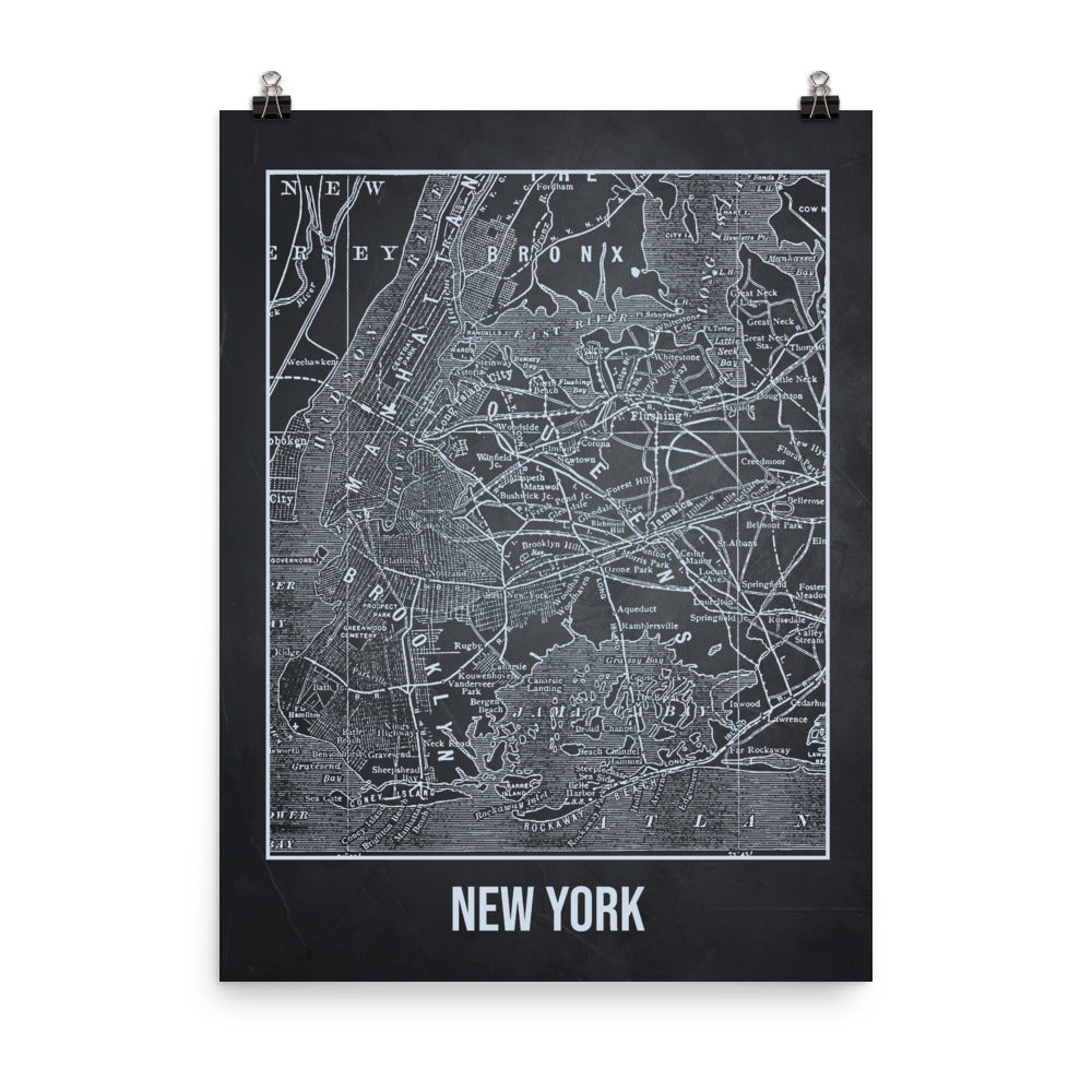 New York Antique Paper Map Gray