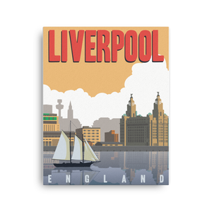 Liverpool England | Vintage-Style Travel Poster | Canvas Print (Dusk)