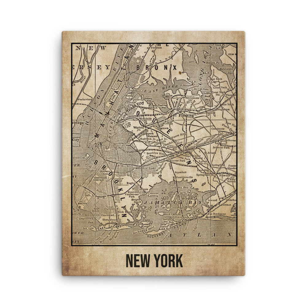 New York Antique Canvas Print Map