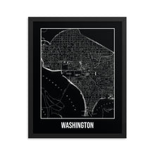 Framed Washington Antique Paper Map Black