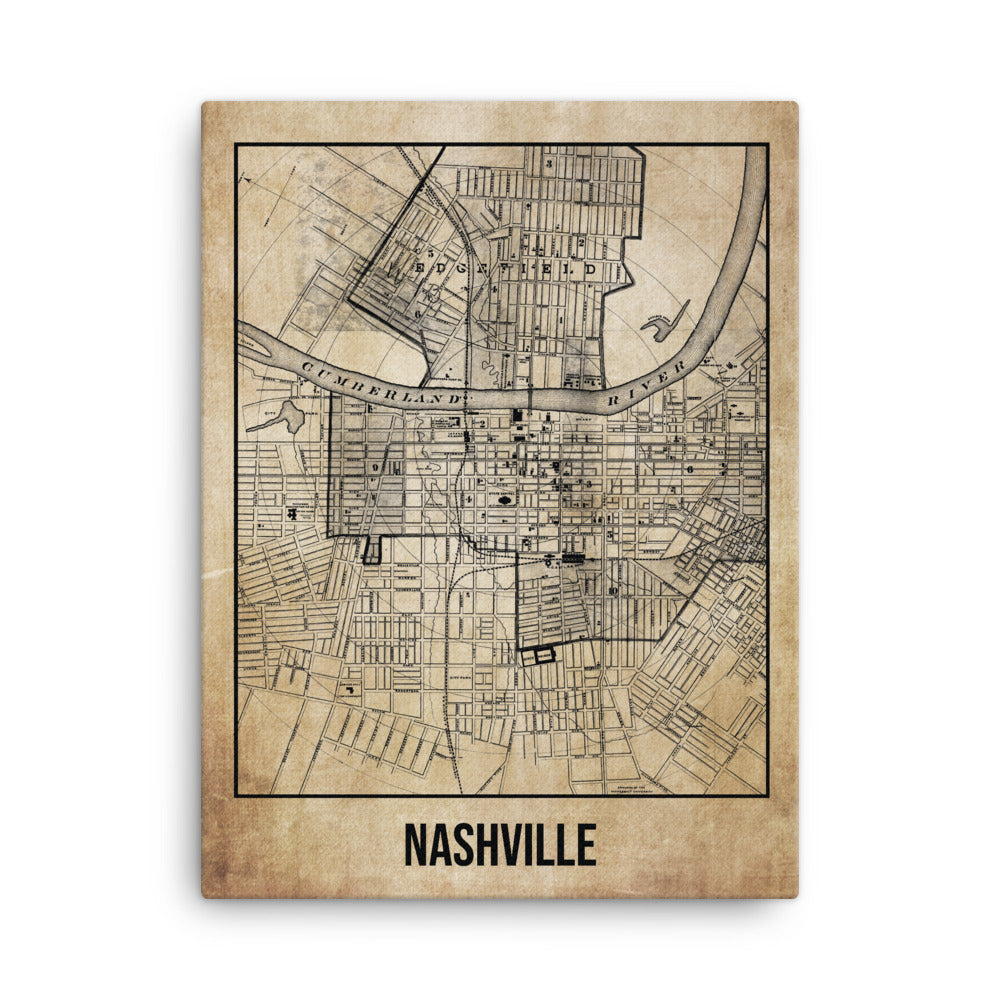Nashville Antique Canvas Print Map