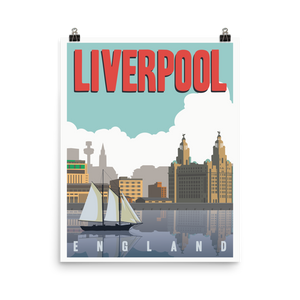 Liverpool England | Vintage-Style Travel Poster | Premium Paper Print (Day)