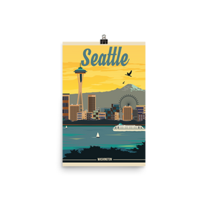 Seattle Washington | Vintage Travel Poster | Photo Paper Print