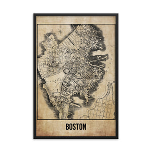 Framed Boston Antique Paper Map