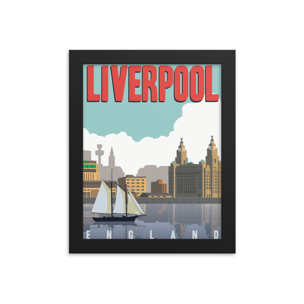 Liverpool England | Vintage-Style Travel Poster | Framed Print (Day)