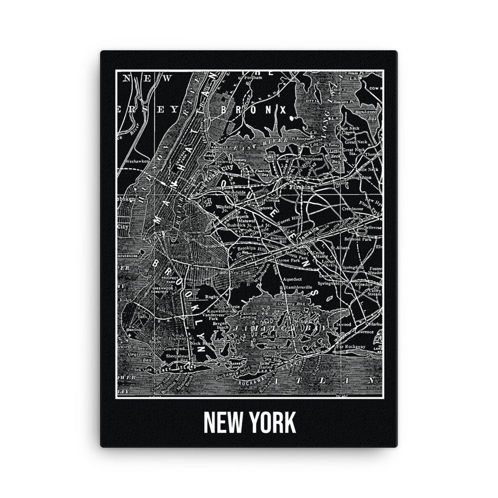 New York Antique Canvas Print Map Black