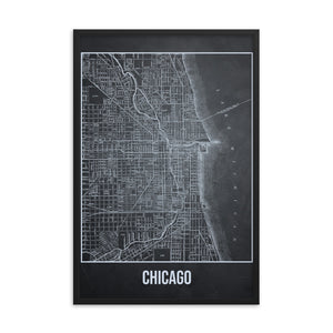 Framed Chicago Antique Paper Map Gray