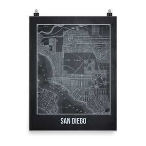 San Diego Antique Paper Map Gray