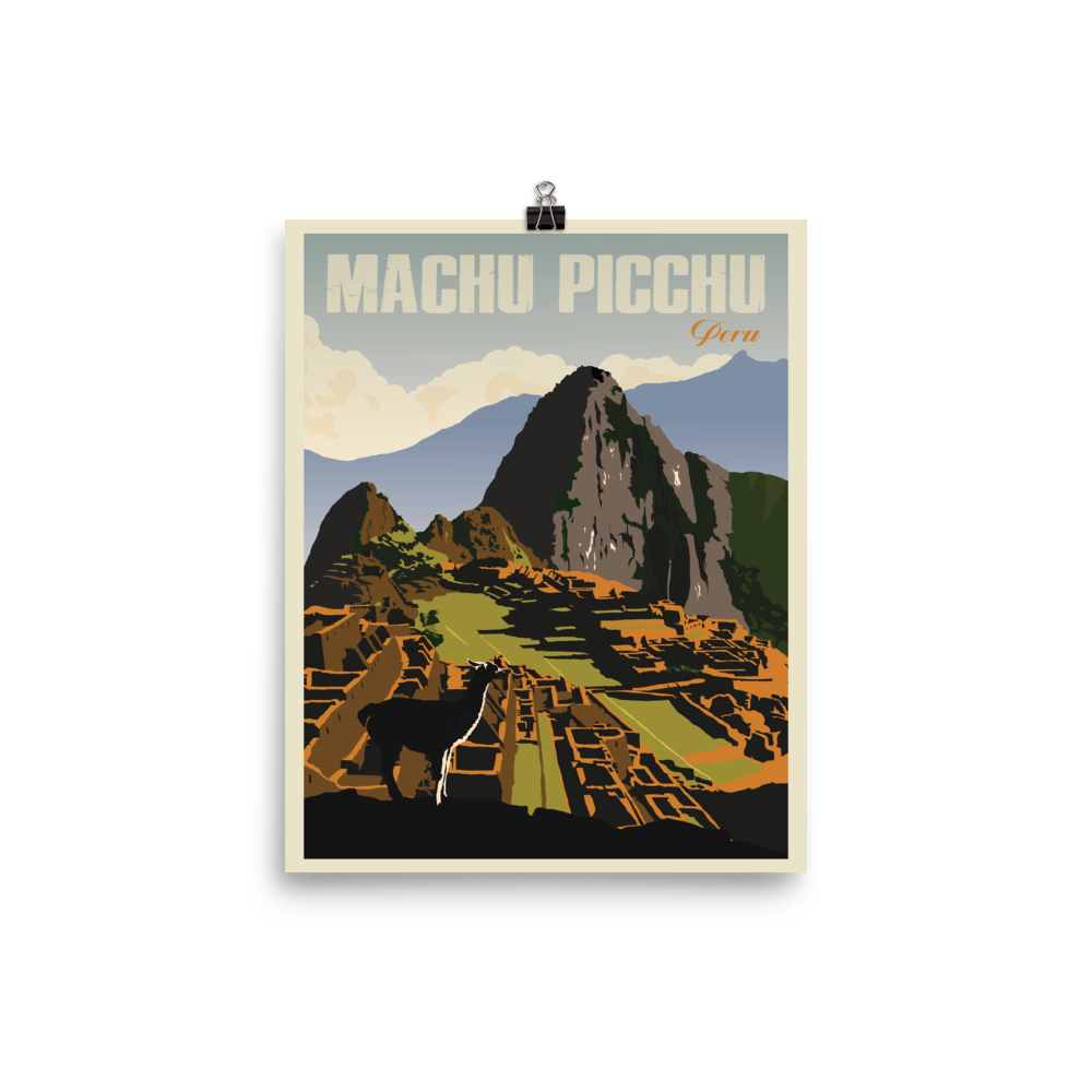 Machu Picchu Peru | Vintage Travel Poster | Enhanced Matte Paper Print