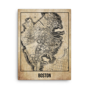 Boston Antique Canvas Print Map
