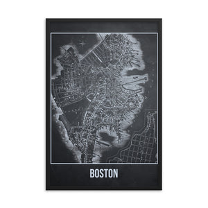Framed Boston Antique Paper Map Gray