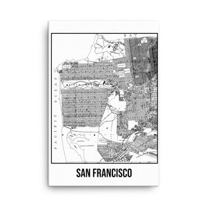 San Francisco Antique Canvas Print Map White