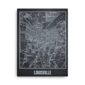 Louisville Antique Canvas Print Map Gray