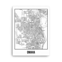 Omaha City Antique Canvas Print Map White