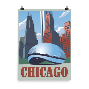 Chicago | Cloud Gate | Vintage-Style Travel Poster | Premium Paper Print