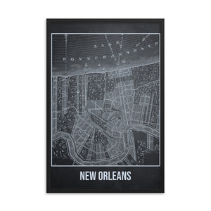 Framed New Orleans Antique Paper Map Gray