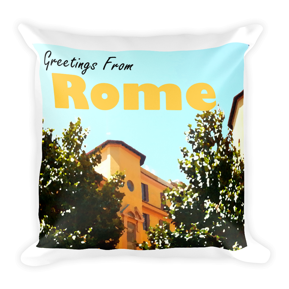 Greetings From Rome Pillow | Rome, Italy | Vintage Travel Poster-Style Square Accent Pillow
